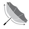 Flexible windproof system:<br>The umbrella can withstand strong gusts of wind. It turns inside out in extremely windy conditions but does not break.